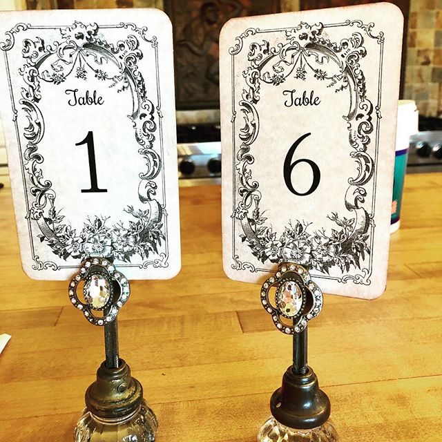 Taking an actual day off and spending it doing what I enjoy most.. creating something unique!  Introducing my new table numbers, using vintage door knobs I've collected over the years from various antique stores & flea markets and some magnetic broach clips I found on clearance today at Denault Hardware, of all places.  SCORE!! #chapeloforange