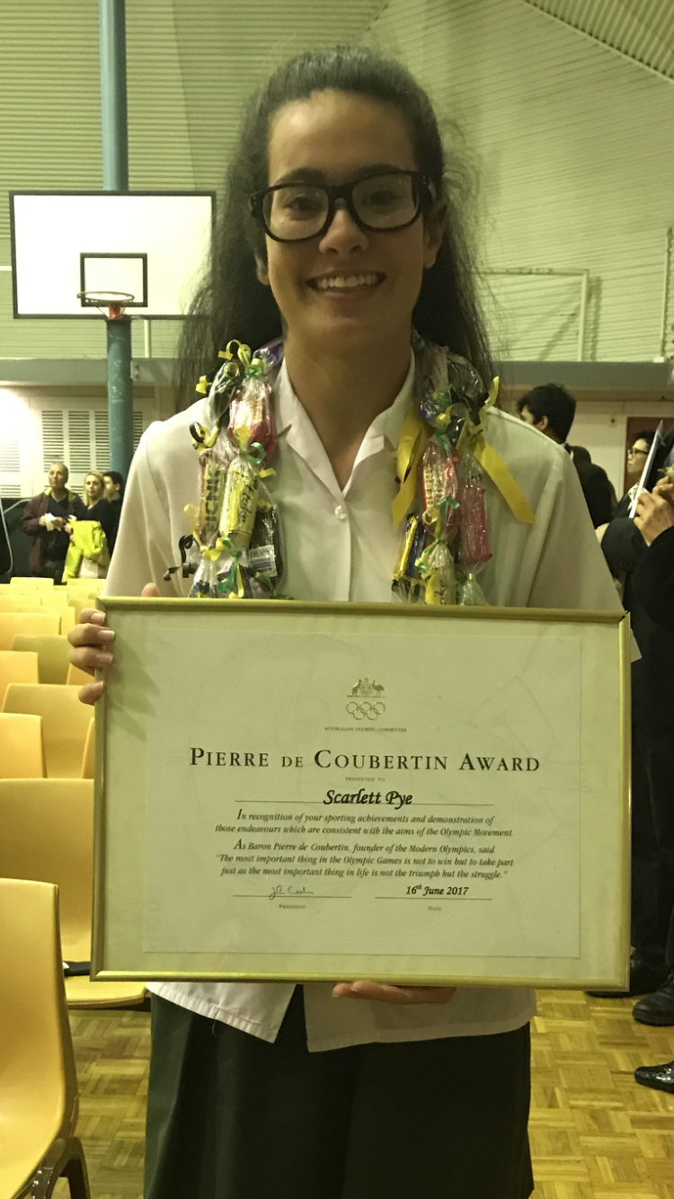 Scarlett received the Pierre de Coubertin Award from the Australian Olympic Committee — the highest honour given to a high school senior! (Courtesy of Scarlett Pye)