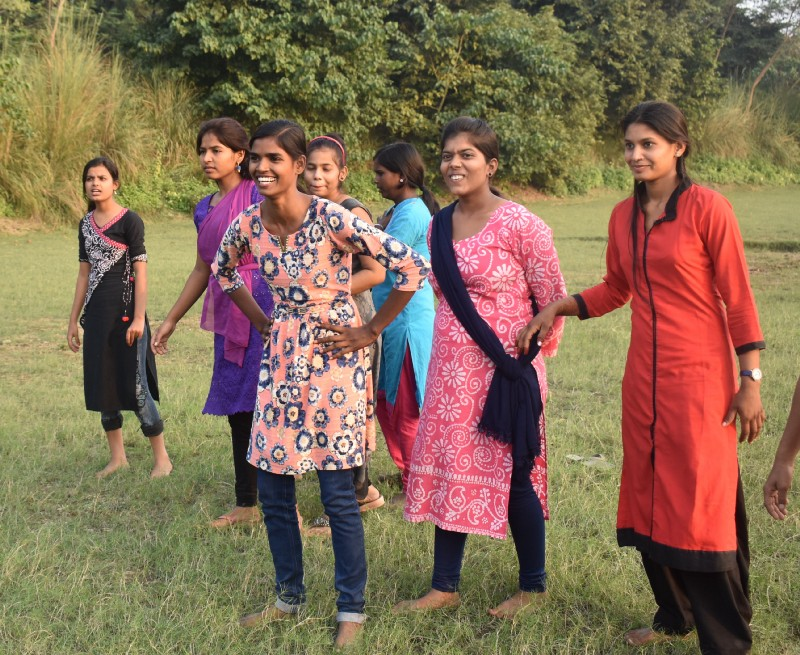Rani spends time with other  Girl Icons  during a leadership training. (Courtesy of Bhumika Regmi / Malala Fund)
