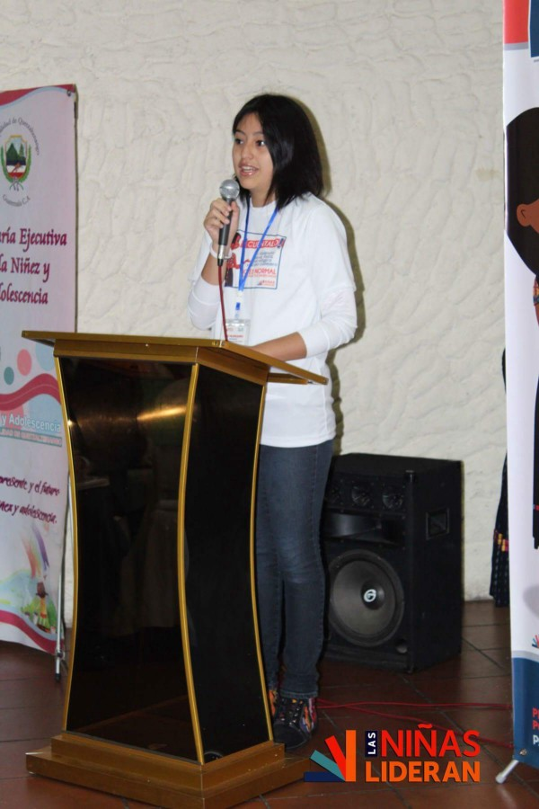 Alejandra speaks at the launch of Guatemalan Girls Network's anti-violence campaign. (Courtesy of Rise Up)