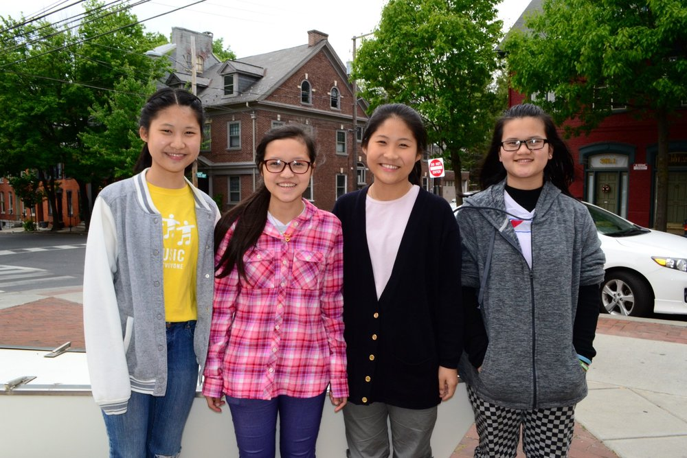Mimi, Ler, Pree Pree and Hsa Kpru in Lancaster, Pennsylvania. (Courtesy of Tess Thomas / Malala Fund)
