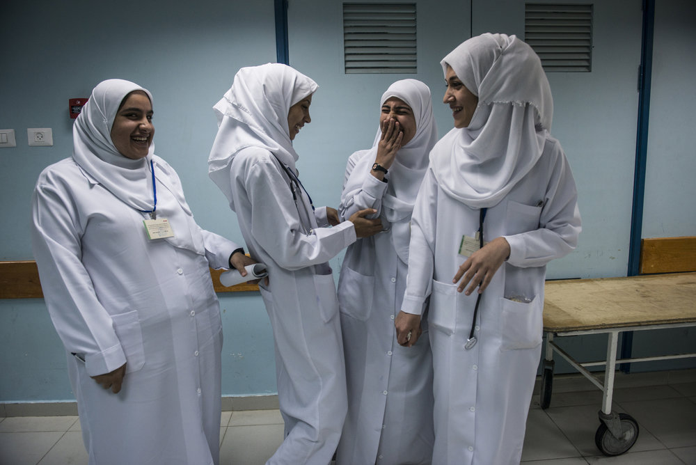 Medical students from Islamic University on break in the Maternity Ward of Al-Shifa Hospital in Gaza. (Courtesy of Monique Jacques)