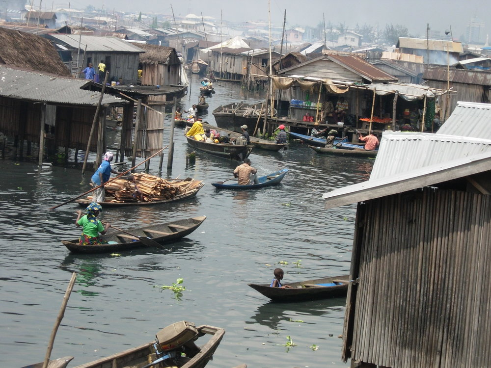 Makoko is the world's largest floating slum — the entire settlement of about 400,000 is built on stilts. (Courtesy of eWASH)