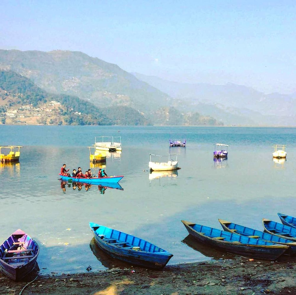 Students from Anadu on their daily boat ride to the city of Pokhara.   (Courtesy of  Rajesh Shrestha )