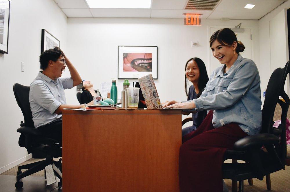 PERIOD interns Baljaa Borgil, Ting Ting Chen, Daisy Mia Kahn. (Courtesy of McKinley Tretler / Malala Fund)