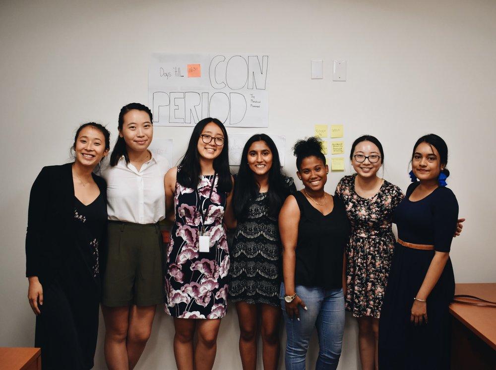 PERIOD chapter leader meeting (left to right) Nadya Okamoto, Jocelyn Cheng, Emily Wang, Laksmi Mahajan, Kianna Ackerman, Audrey Huang and Sadiqa Taaseen. (Courtesy of McKinley Tretler / Malala Fund)