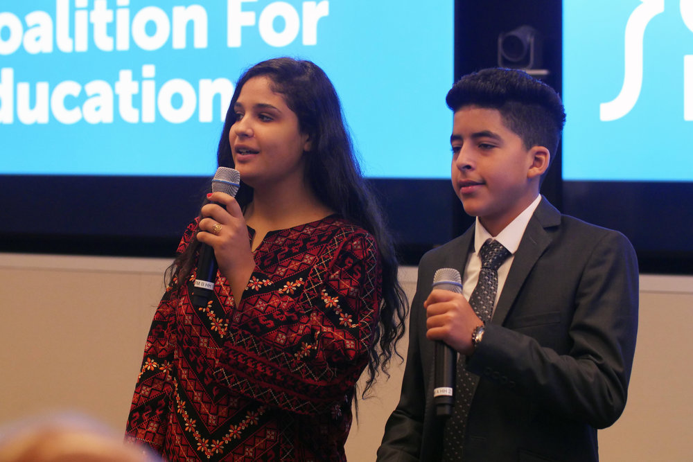 UNRWA parliamentarians Aseel Soboh and Ahmad Baker speaking at Global Business Coalition for Education meeting at U.N. General Assembly. (Courtesy of Ozlem Eskiocak / UNRWA)