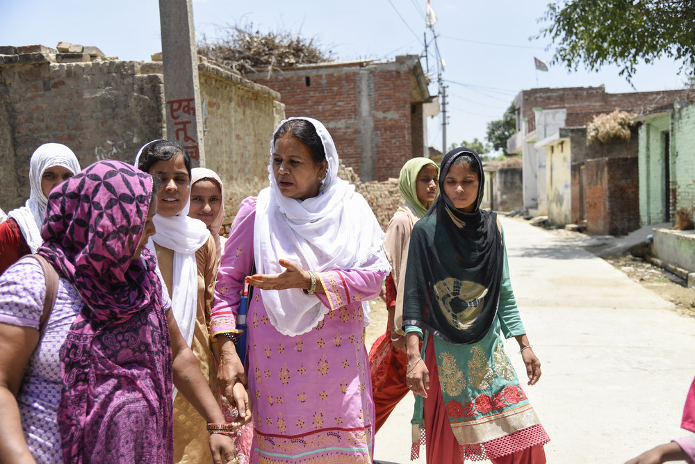 Malala Fund Gulmakai Champion Rehana Rehman helps Uttar Pradesh, Muslim and Dalit girls in India stay in school by meeting with parents and making girls' journeys to school safer. (Courtesy of Saumya Khandelwal / Malala Fund)