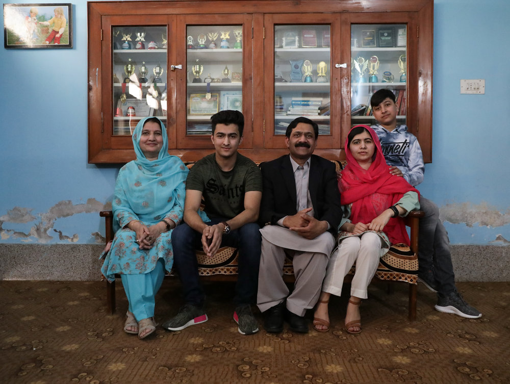 Malala and her family in her childhood bedroom. (Courtesy of Insiya Syed / Malala Fund)