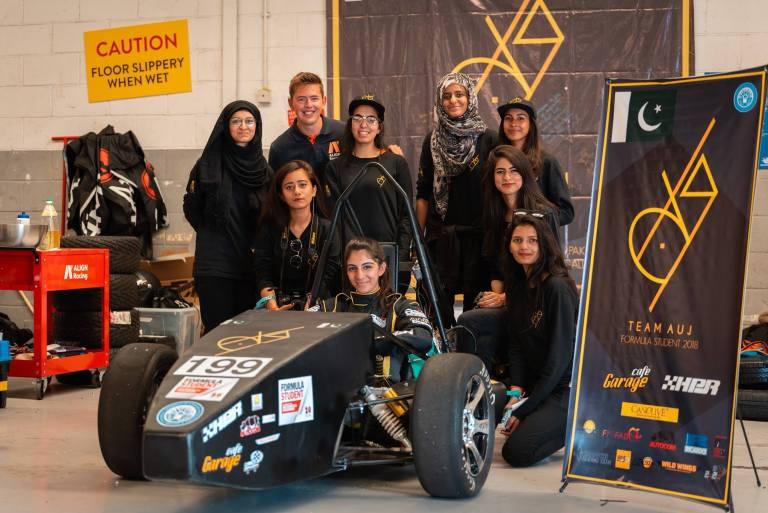 Team Auj at Formula Student with their car, Naltaar 199. (Courtesy of Team Auj)