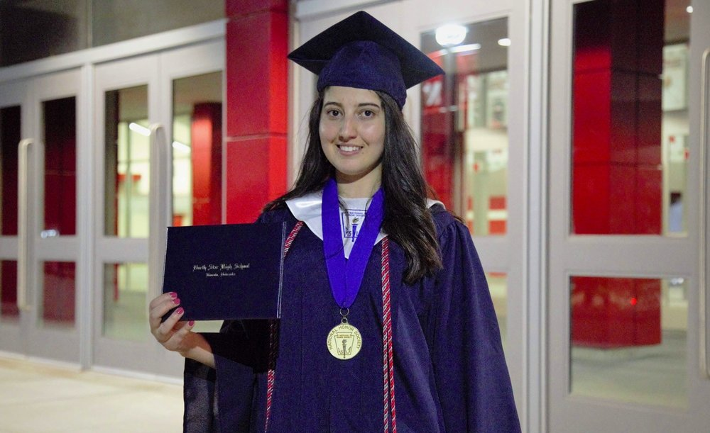 Nibras gave the commencement speech at her high school graduation ceremony. (Courtesy of Nibras Khudaida)
