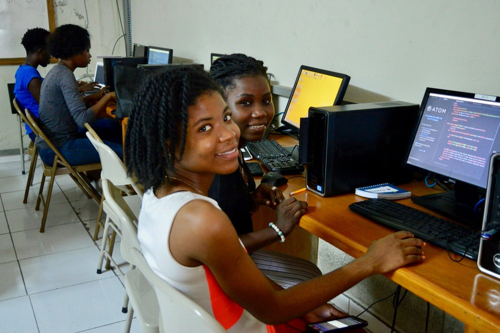 Belenda learning to program during the SOWCoders camp. (Courtesy of SOWCoders)