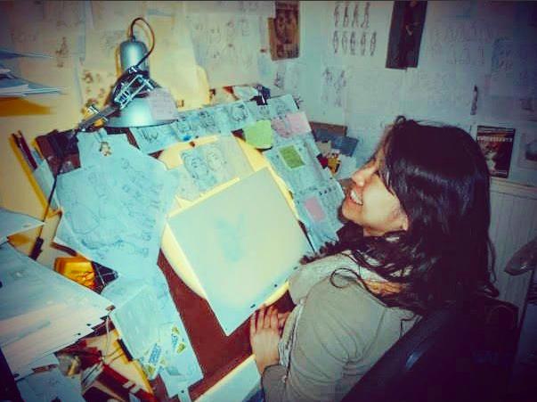 "Aya working on ""The Illusionist."" (Courtesy of  Aya Sen Twitter )"