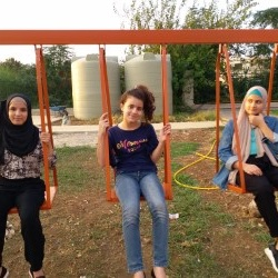 With my friends Lin and Aya at the park.