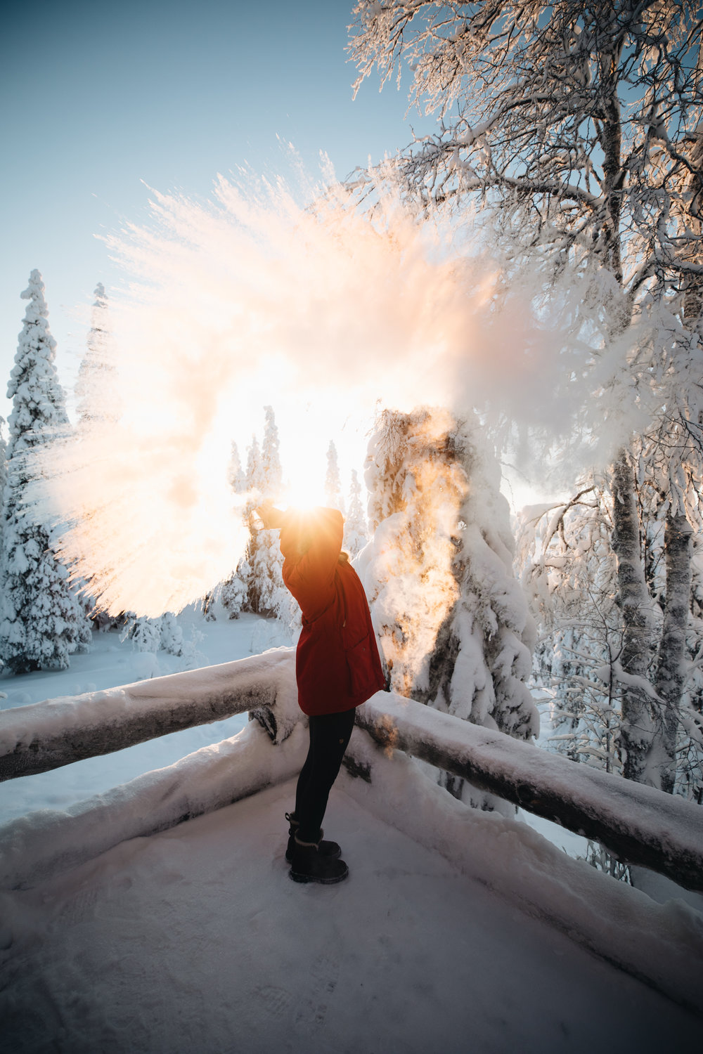 Cold outside? - …we are talking at least -20 degrees Celsius. Then boil up some water, put it in a thermoflask and throw the water into the air. Great fun for sure.