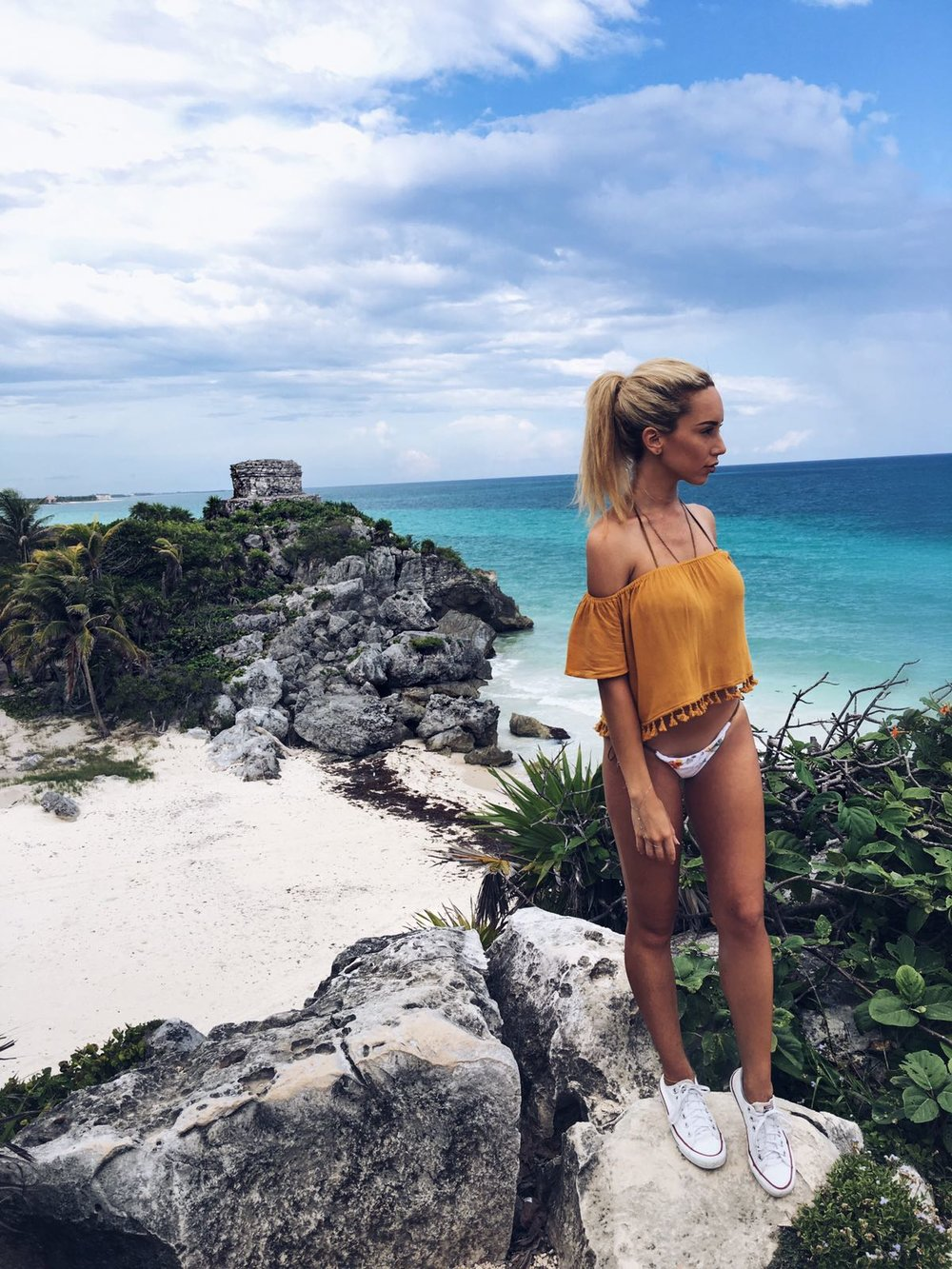 Checking out the ancient Mayan Ruins