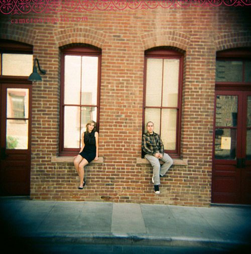 Holga medium format engagement pictures taken of Nicki and J in Hollywood by Cameron Ingalls