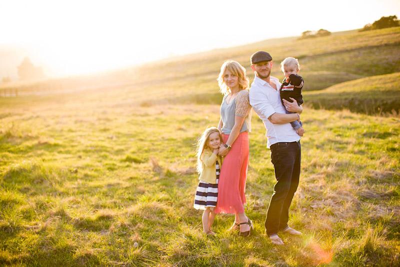 family at bishops peak during sunset