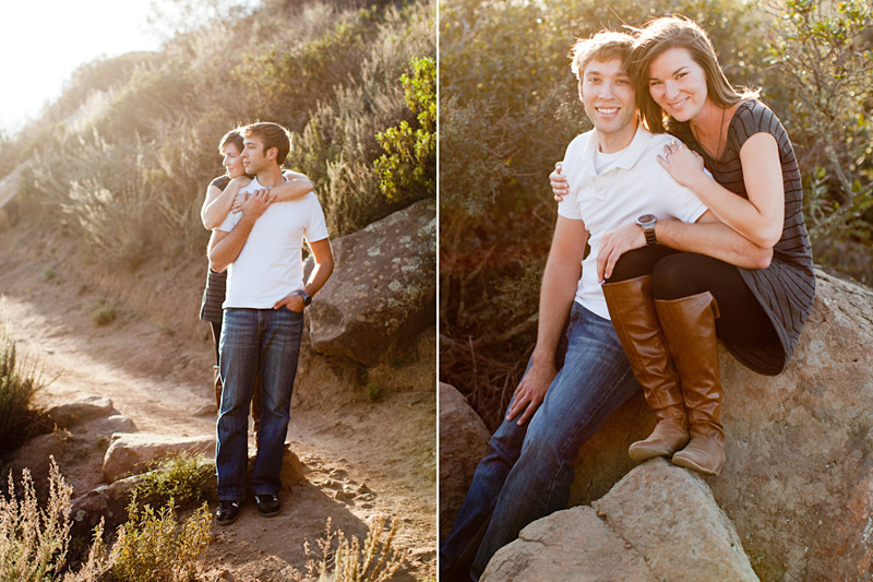 Engaged Cal Poly Couple hugging Bishops Peak
