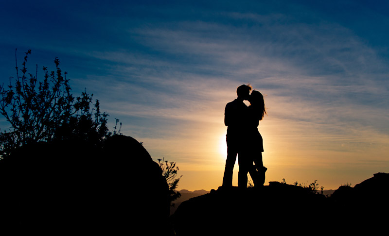 San Luis Obispo Bishops Peak Engagement Photos Couple in sunset