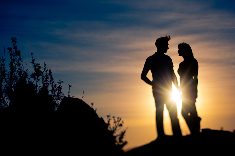 Silhouette of Engaged Cal Poly Couple on Bishops Peak