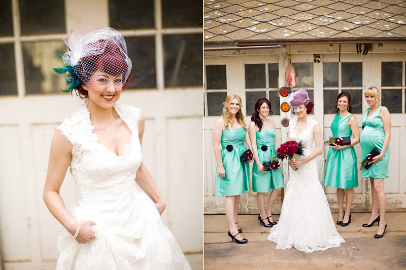 Ventura County vintage bride with birdcage veil and teal bridesmaid dresses