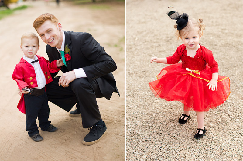 vintage circus wedding ring bearer dressed as ring master and flower girl