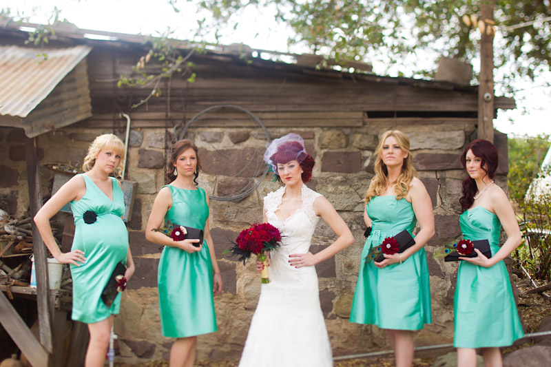 Ventura County vintage bride bridesmaids in teal dresses