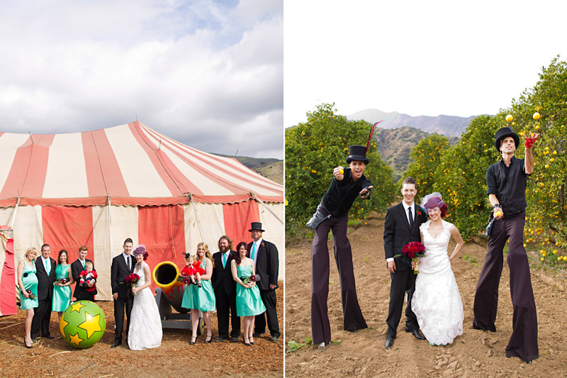 Ventura county  vintage circus wedding party in front of tent. Couple with men on stilts.