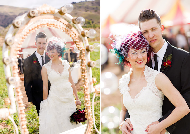 ventura county vintage wedding Stacy & Josh reflected in vanity with circus tent in the background