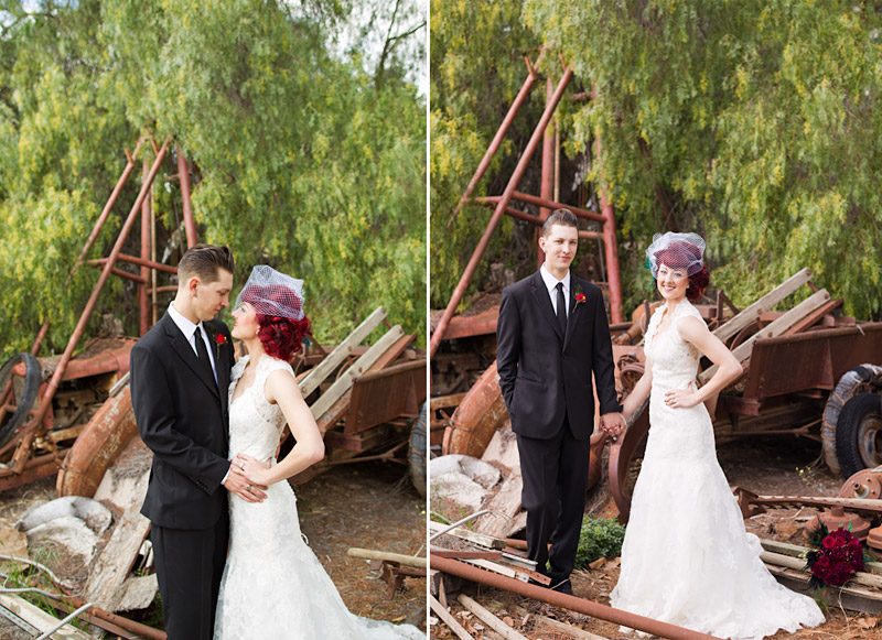 Stacy & Josh, Ventura County wedding couple portraits in front of old car parts 2 of 3