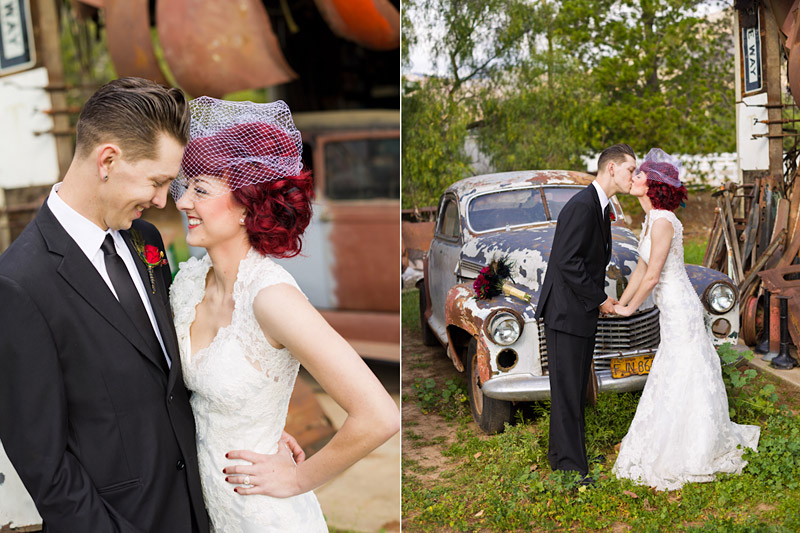 Stacy & Josh, Ventura County wedding couple portraits in front of old car parts 3 of 3