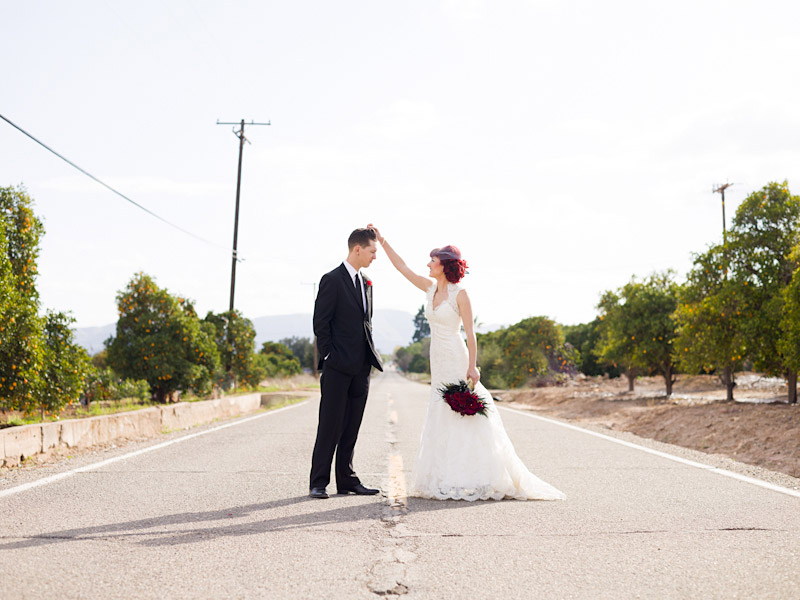 Stacy & Josh, Ventura County wedding couple portraits in the middle of the street 1 of 2