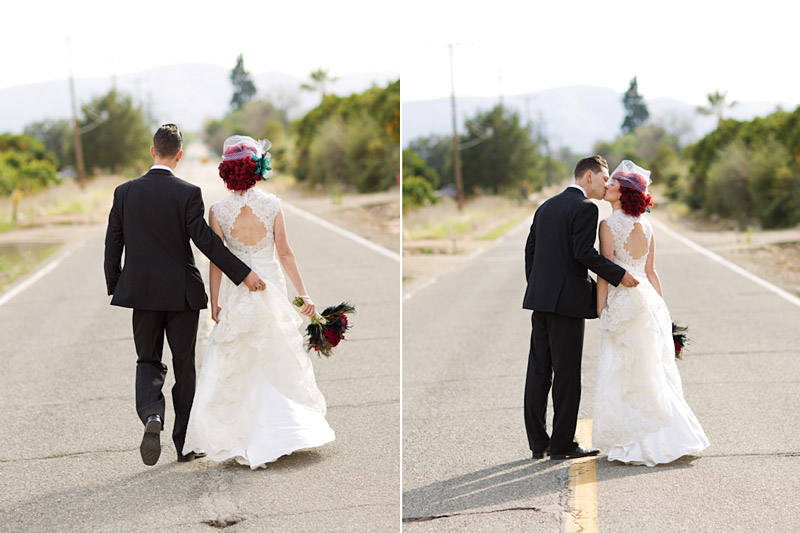Stacy & Josh, Ventura County wedding couple portraits in the middle of the street 2 of 2