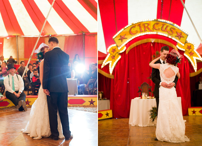 ventura county vintage wedding Stacy & Josh dancing in circus tent 1 of 2