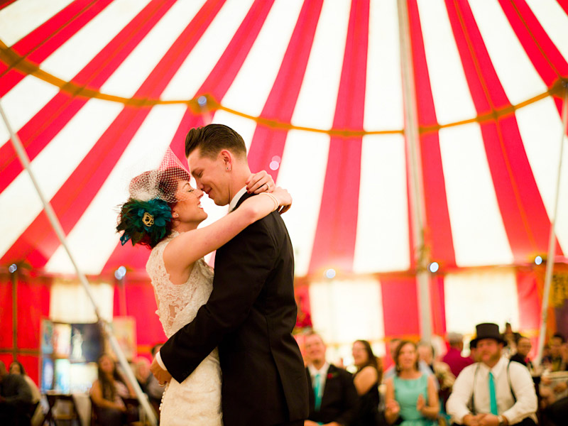 ventura county vintage wedding Stacy & Josh dancing in circus tent 2 of 2
