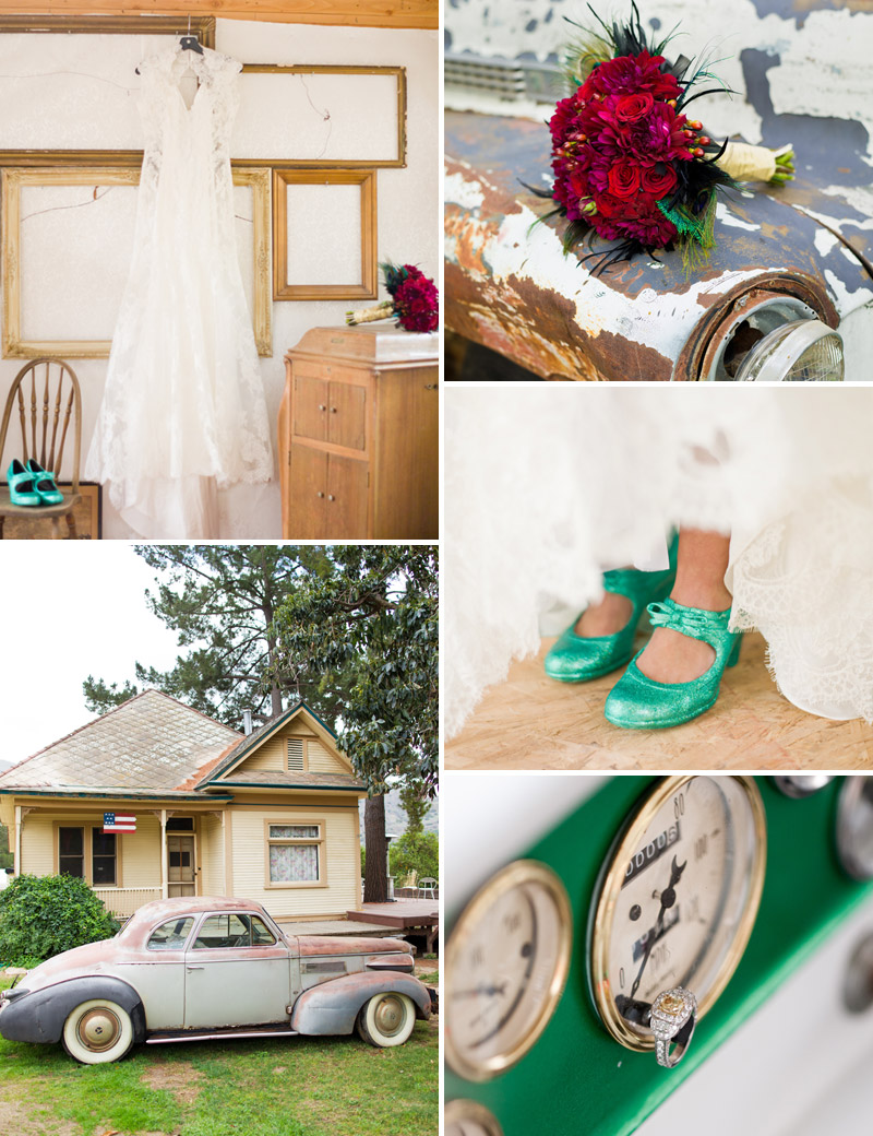 Vintage Ventura County wedding dress, classic car with brides bouquet, teal wedding shoes, and ring.