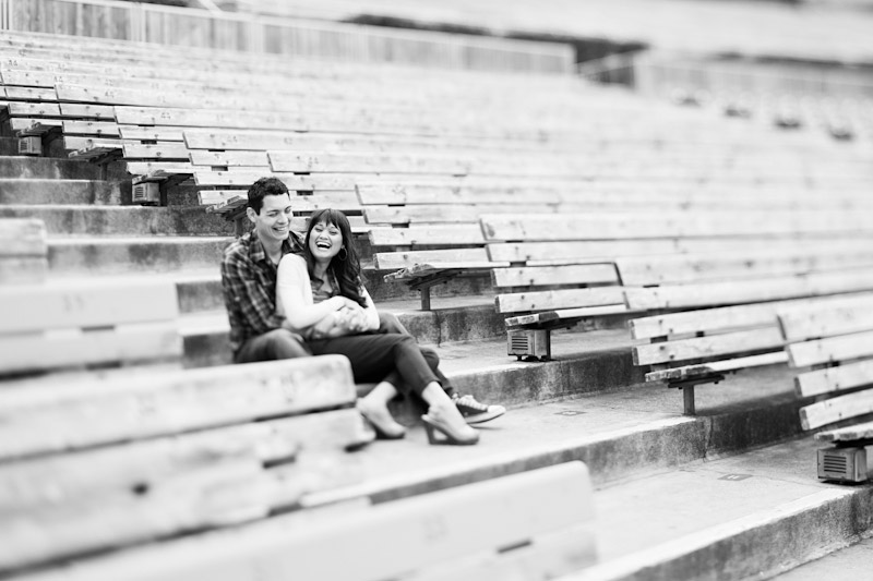 Hollywood Bowl, Wedding photography, engagement photos of couple sitting in bleachers (2 of 3)