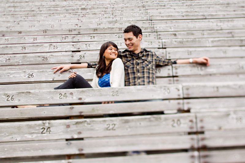Hollywood Bowl, Wedding photography, engagement photos of couple sitting in bleachers (1 of 3)