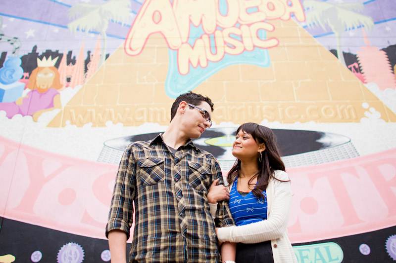 Hollywood, Wedding photography, engagement photos of couple in front of Amoeba Music Store
