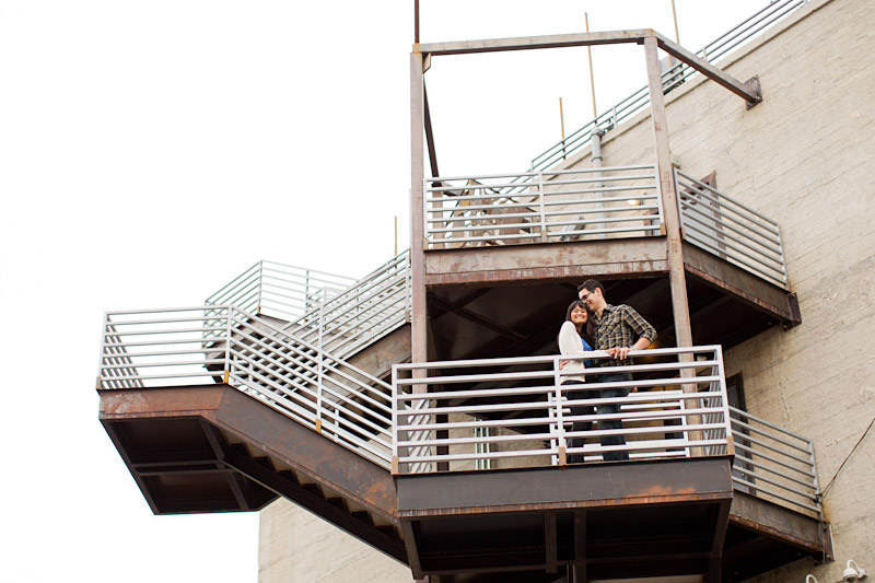 Hollywood, Wedding photography, urban engagement photos of bride and groom on a fire escape (1 of 2).