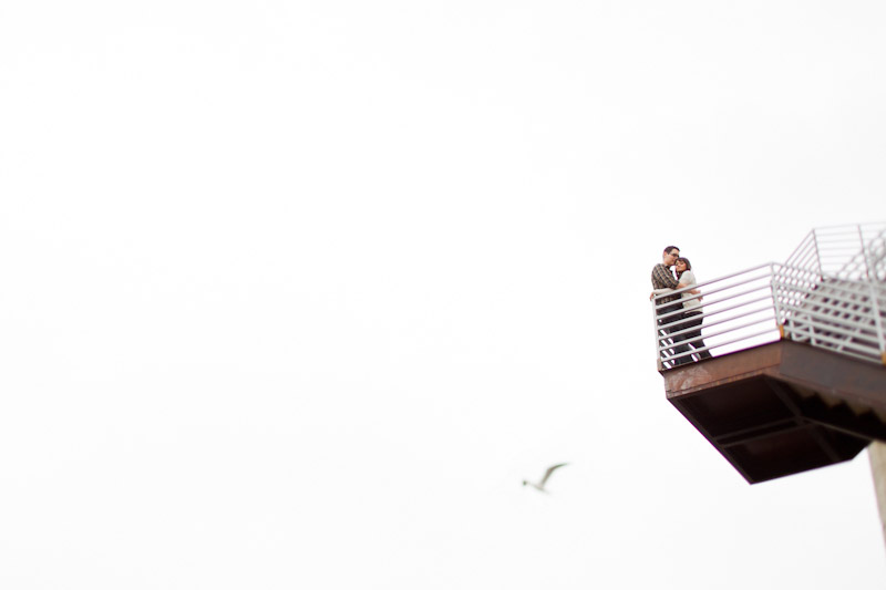 Hollywood, Wedding photography, urban engagement photos of bride and groom on a fire escape (2 of 2).