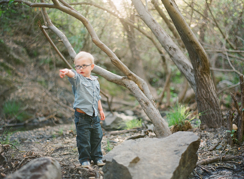 Central Coast family portraits, boy playing in creek (1 of 2)