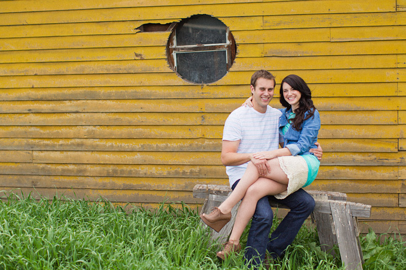 Santa Margarita engagement pictures of couple in front of yellow wall (2 of 2)