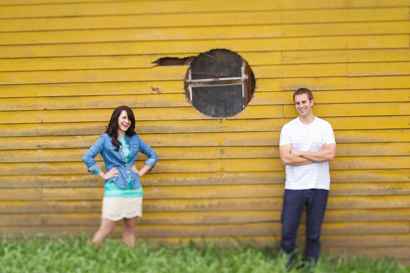 Santa Margarita engagement pictures of couple in front of yellow wall (1 of 2)