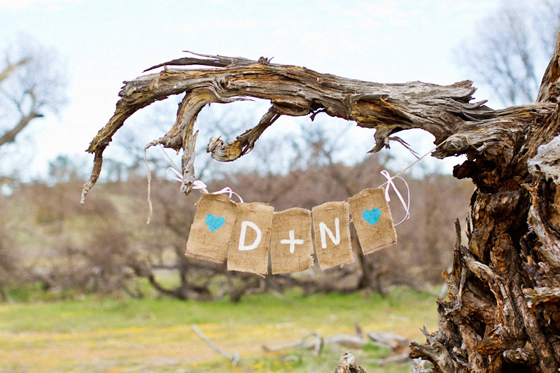 Santa Margarita engagement pictures of couples initials painted in burlap hanging in oak tree