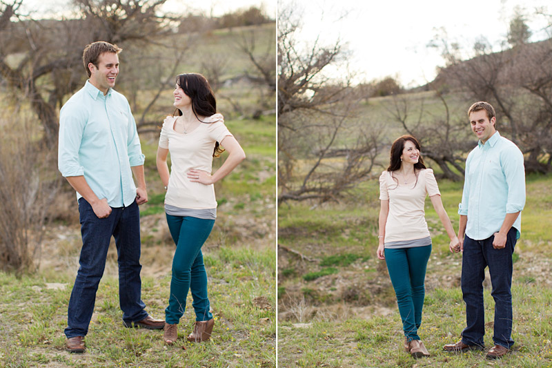 Santa Margarita wedding engagement picture of couple holding hands in field laughing