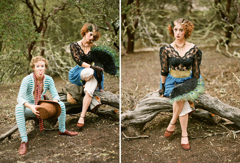 Loriana Ranch, San Luis Obispo Vintage Circus Freak Show Blue Bird inspiration shoot of clowns in a forest (2 of 4)