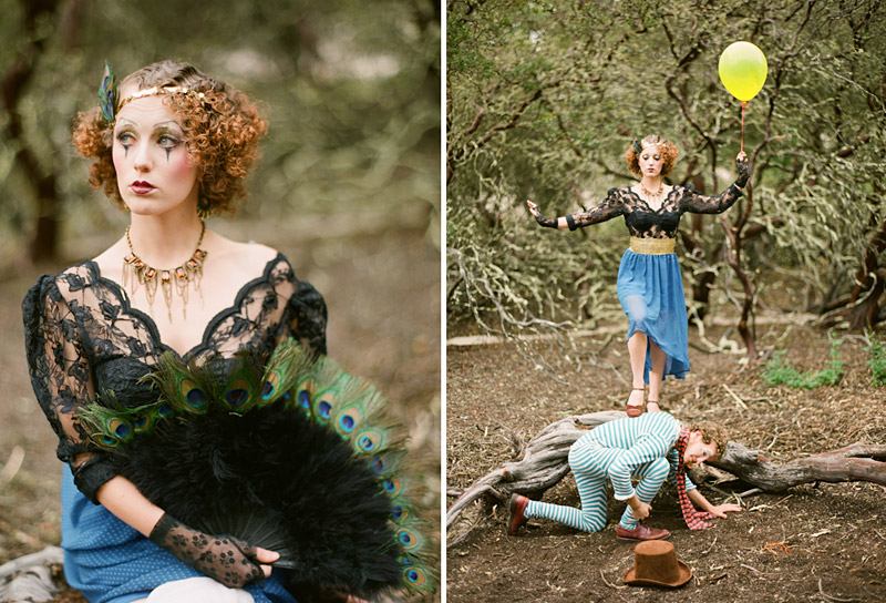 Loriana Ranch, San Luis Obispo Vintage Circus Freak Show Blue Bird inspiration shoot of clowns in a forest (3 of 4)