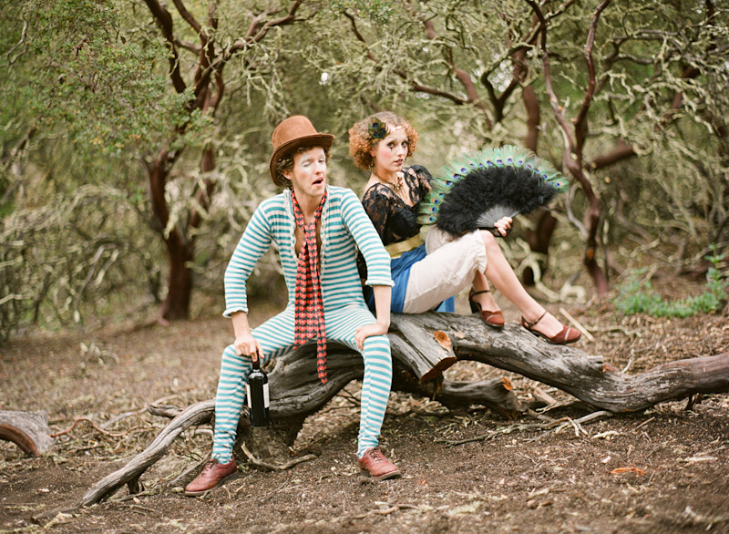 Loriana Ranch, San Luis Obispo Vintage Circus Freak Show Blue Bird inspiration shoot of clowns in a forest (1 of 4)